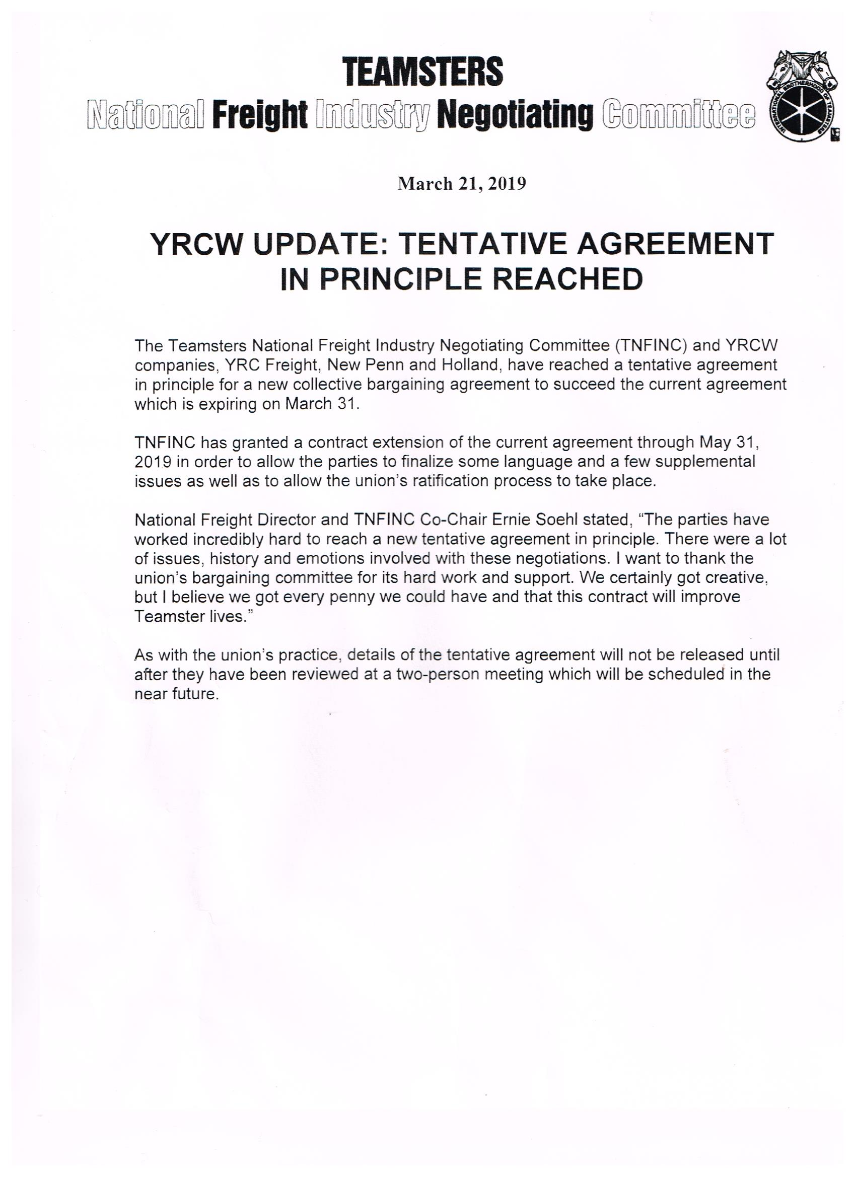 YRCW Contract Update – Teamsters Local 171